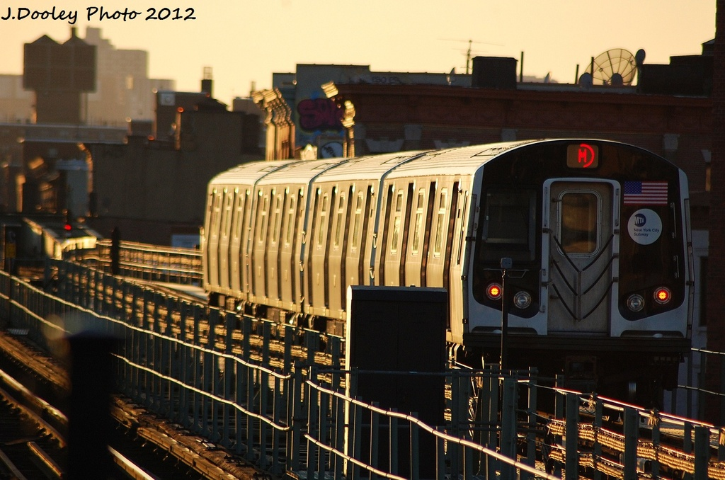 (312k, 1024x678)<br><b>Country:</b> United States<br><b>City:</b> New York<br><b>System:</b> New York City Transit<br><b>Line:</b> BMT Myrtle Avenue Line<br><b>Location:</b> Central Avenue <br><b>Route:</b> M<br><b>Car:</b> R-160A (Option 2) (Alstom, 2009, 4-car sets)  9954 <br><b>Photo by:</b> John Dooley<br><b>Date:</b> 1/28/2012<br><b>Viewed (this week/total):</b> 2 / 366