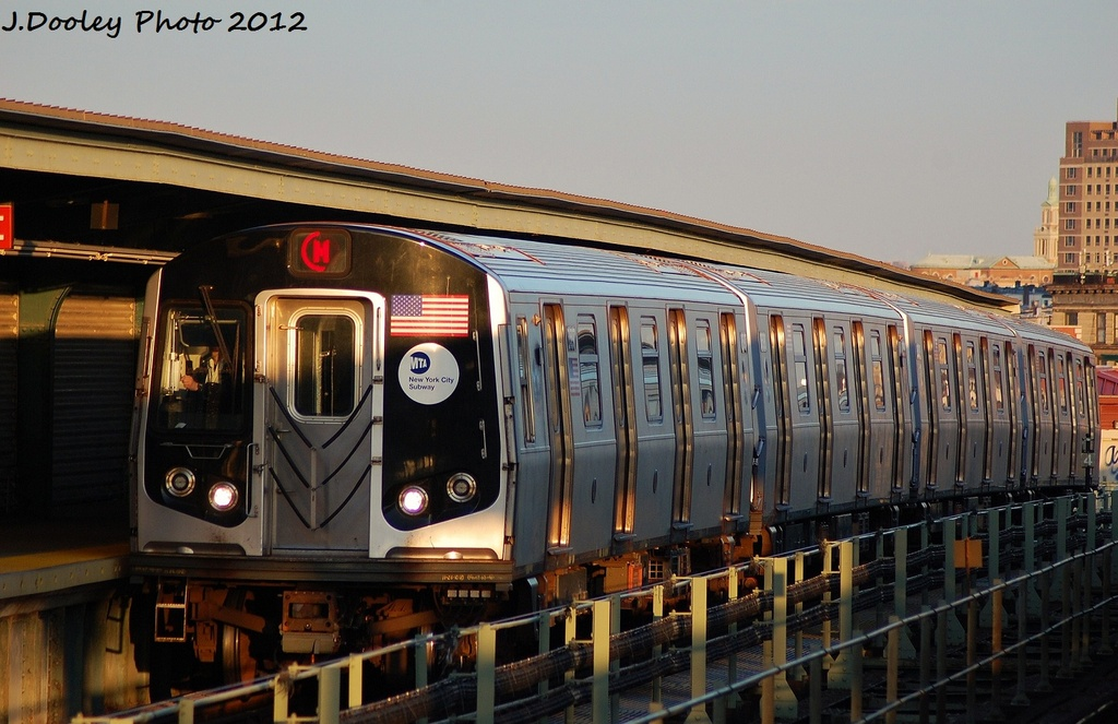 (305k, 1024x663)<br><b>Country:</b> United States<br><b>City:</b> New York<br><b>System:</b> New York City Transit<br><b>Line:</b> BMT Myrtle Avenue Line<br><b>Location:</b> Central Avenue <br><b>Route:</b> M<br><b>Car:</b> R-160A (Option 2) (Alstom, 2009, 4-car sets)  9957 <br><b>Photo by:</b> John Dooley<br><b>Date:</b> 1/28/2012<br><b>Viewed (this week/total):</b> 1 / 928