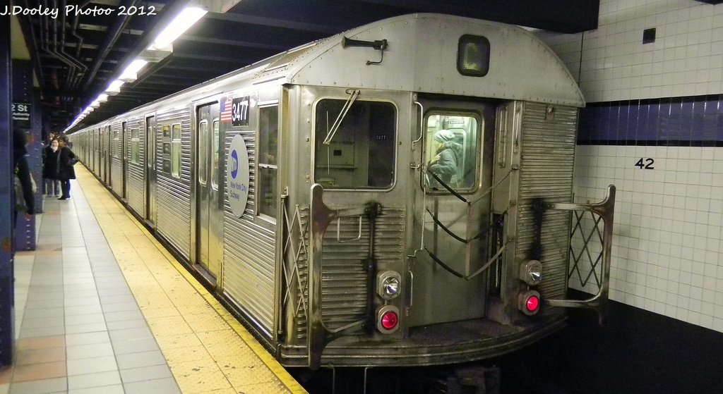 (250k, 1024x559)<br><b>Country:</b> United States<br><b>City:</b> New York<br><b>System:</b> New York City Transit<br><b>Line:</b> IND 8th Avenue Line<br><b>Location:</b> 42nd Street/Port Authority Bus Terminal <br><b>Route:</b> C<br><b>Car:</b> R-32 (Budd, 1964)  3477 <br><b>Photo by:</b> John Dooley<br><b>Date:</b> 12/4/2011<br><b>Viewed (this week/total):</b> 0 / 316