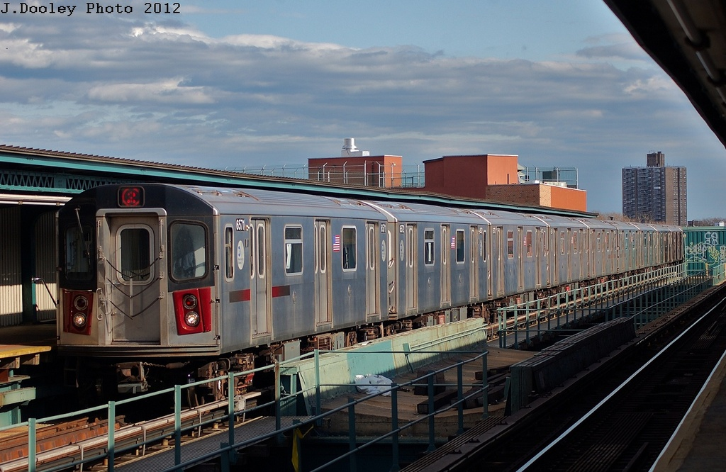 (308k, 1024x666)<br><b>Country:</b> United States<br><b>City:</b> New York<br><b>System:</b> New York City Transit<br><b>Line:</b> IRT Brooklyn Line<br><b>Location:</b> Sutter Avenue/Rutland Road <br><b>Route:</b> 2<br><b>Car:</b> R-142 (Primary Order, Bombardier, 1999-2002)  6571 <br><b>Photo by:</b> John Dooley<br><b>Date:</b> 3/29/2012<br><b>Viewed (this week/total):</b> 1 / 242