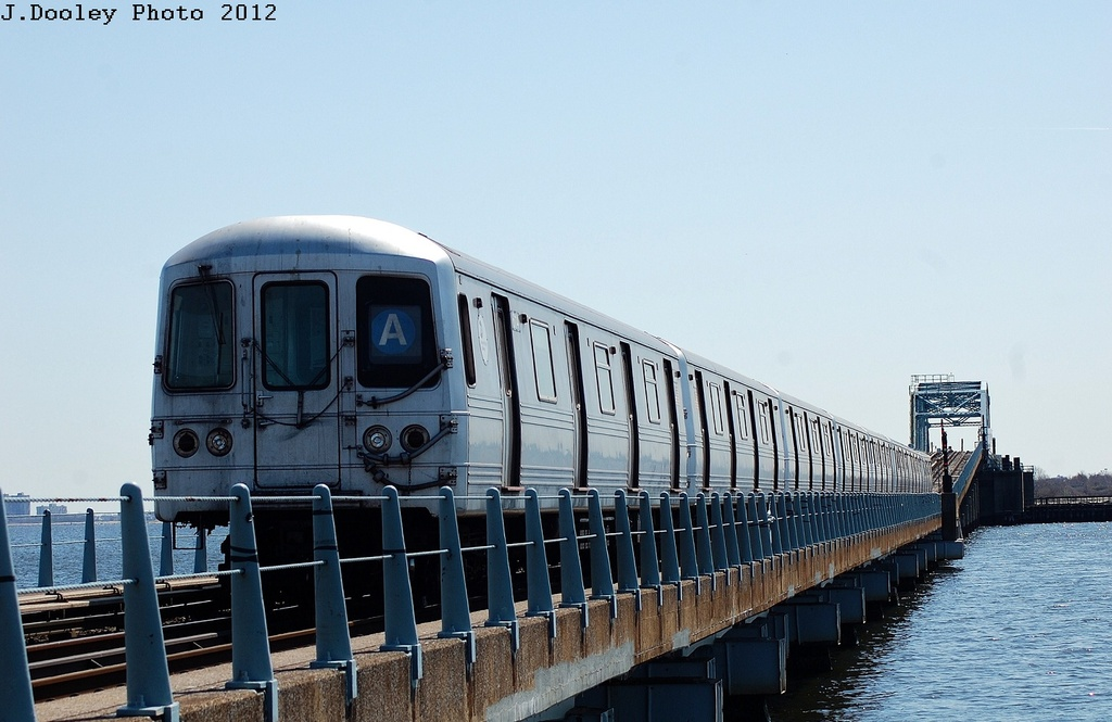 (273k, 1024x665)<br><b>Country:</b> United States<br><b>City:</b> New York<br><b>System:</b> New York City Transit<br><b>Line:</b> IND Rockaway<br><b>Location:</b> North Channel Bridge <br><b>Route:</b> A<br><b>Car:</b> R-46 (Pullman-Standard, 1974-75) 6114 <br><b>Photo by:</b> John Dooley<br><b>Date:</b> 3/27/2012<br><b>Viewed (this week/total):</b> 2 / 235