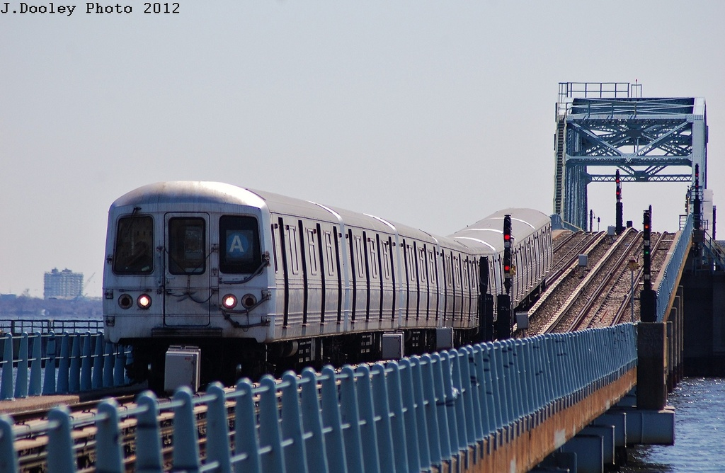 (283k, 1024x668)<br><b>Country:</b> United States<br><b>City:</b> New York<br><b>System:</b> New York City Transit<br><b>Line:</b> IND Rockaway<br><b>Location:</b> North Channel Bridge <br><b>Route:</b> A<br><b>Car:</b> R-46 (Pullman-Standard, 1974-75) 6220 <br><b>Photo by:</b> John Dooley<br><b>Date:</b> 3/27/2012<br><b>Viewed (this week/total):</b> 3 / 766