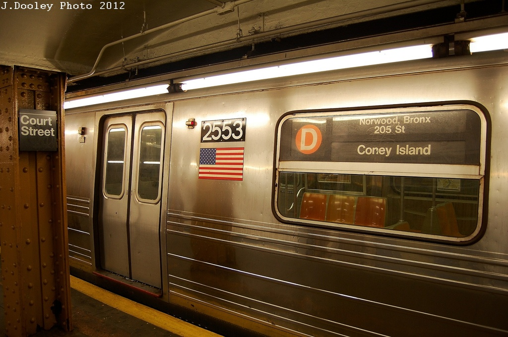 (311k, 1024x680)<br><b>Country:</b> United States<br><b>City:</b> New York<br><b>System:</b> New York City Transit<br><b>Line:</b> BMT Broadway Line<br><b>Location:</b> Court Street <br><b>Route:</b> D reroute<br><b>Car:</b> R-68 (Westinghouse-Amrail, 1986-1988)  2553 <br><b>Photo by:</b> John Dooley<br><b>Date:</b> 2/28/2012<br><b>Viewed (this week/total):</b> 2 / 745