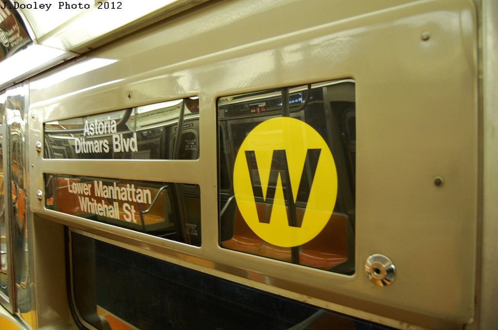 (264k, 1024x680)<br><b>Country:</b> United States<br><b>City:</b> New York<br><b>System:</b> New York City Transit<br><b>Car:</b> R-68 (Westinghouse-Amrail, 1986-1988)  Interior <br><b>Photo by:</b> John Dooley<br><b>Date:</b> 2/28/2012<br><b>Notes:</b> Note wrong signs; Probably a Q service.<br><b>Viewed (this week/total):</b> 5 / 484