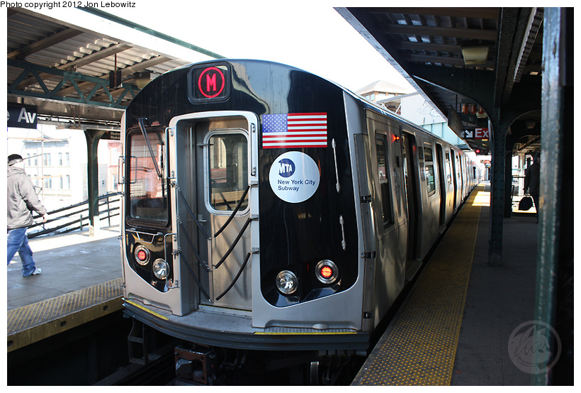 (270k, 820x554)<br><b>Country:</b> United States<br><b>City:</b> New York<br><b>System:</b> New York City Transit<br><b>Line:</b> BMT Nassau Street/Jamaica Line<br><b>Location:</b> Myrtle Avenue <br><b>Route:</b> M<br><b>Car:</b> R-160A-1 (Alstom, 2005-2008, 4 car sets)   <br><b>Photo by:</b> Jon Lebowitz<br><b>Date:</b> 3/7/2010<br><b>Viewed (this week/total):</b> 1 / 276