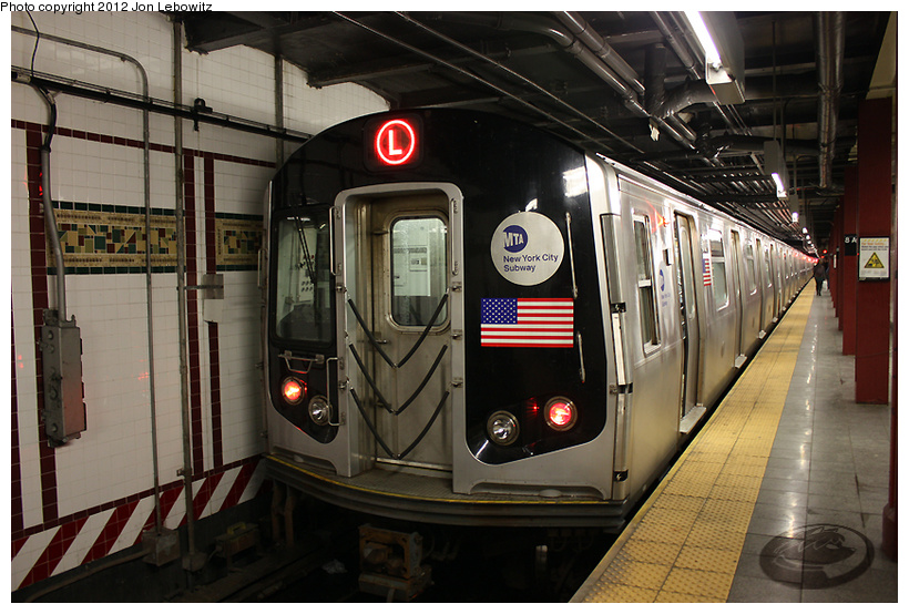 (258k, 820x554)<br><b>Country:</b> United States<br><b>City:</b> New York<br><b>System:</b> New York City Transit<br><b>Line:</b> BMT Canarsie Line<br><b>Location:</b> 8th Avenue <br><b>Route:</b> L<br><b>Car:</b> R-143 (Kawasaki, 2001-2002)  <br><b>Photo by:</b> Jon Lebowitz<br><b>Date:</b> 3/7/2010<br><b>Viewed (this week/total):</b> 5 / 505