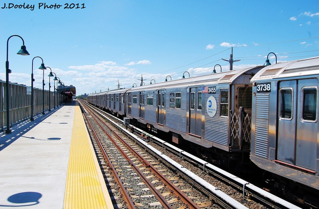 (368k, 1024x673)<br><b>Country:</b> United States<br><b>City:</b> New York<br><b>System:</b> New York City Transit<br><b>Line:</b> IND Rockaway<br><b>Location:</b> Beach 44th Street/Frank Avenue <br><b>Route:</b> A<br><b>Car:</b> R-32 (Budd, 1964)  3455 <br><b>Photo by:</b> John Dooley<br><b>Date:</b> 8/11/2011<br><b>Viewed (this week/total):</b> 2 / 163