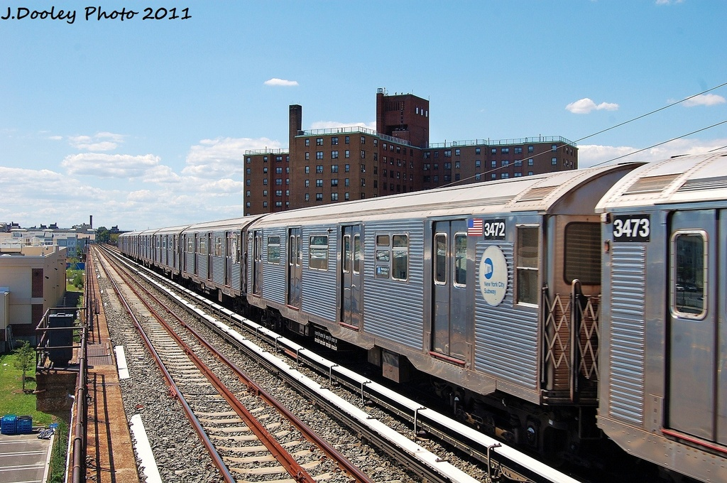 (384k, 1024x680)<br><b>Country:</b> United States<br><b>City:</b> New York<br><b>System:</b> New York City Transit<br><b>Line:</b> IND Rockaway<br><b>Location:</b> Beach 44th Street/Frank Avenue <br><b>Route:</b> A<br><b>Car:</b> R-32 (Budd, 1964)  3472 <br><b>Photo by:</b> John Dooley<br><b>Date:</b> 8/11/2011<br><b>Viewed (this week/total):</b> 1 / 487