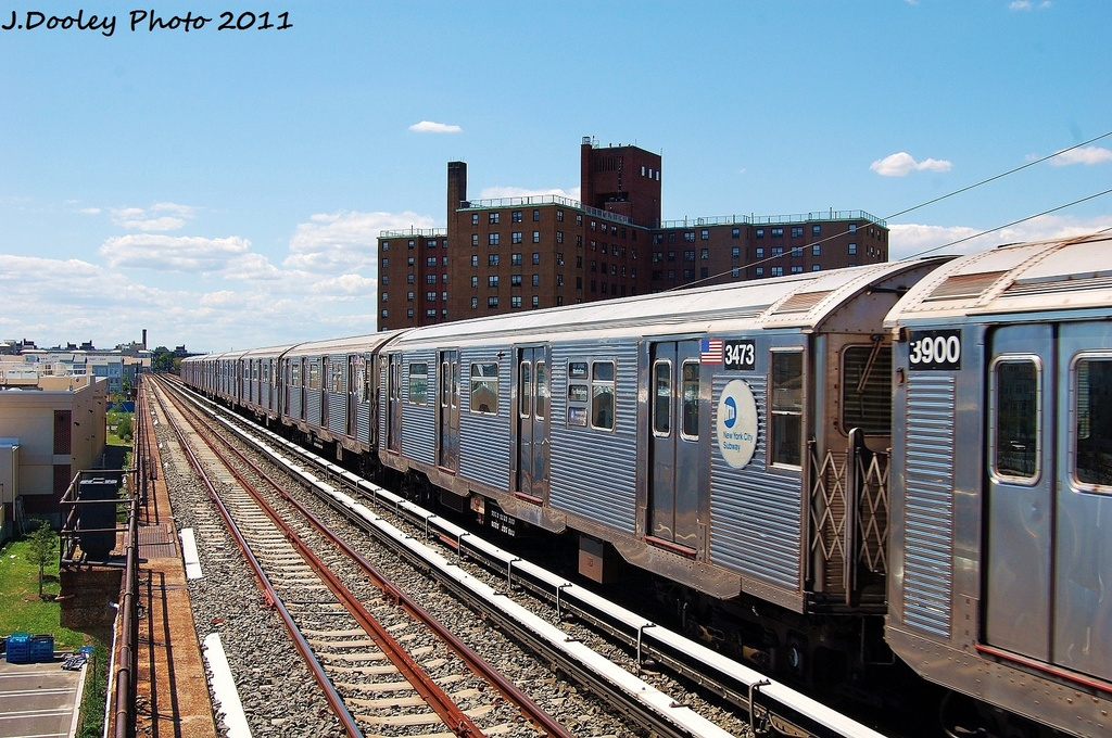 (388k, 1024x680)<br><b>Country:</b> United States<br><b>City:</b> New York<br><b>System:</b> New York City Transit<br><b>Line:</b> IND Rockaway<br><b>Location:</b> Beach 44th Street/Frank Avenue <br><b>Route:</b> A<br><b>Car:</b> R-32 (Budd, 1964)  3473 <br><b>Photo by:</b> John Dooley<br><b>Date:</b> 8/11/2011<br><b>Viewed (this week/total):</b> 1 / 496