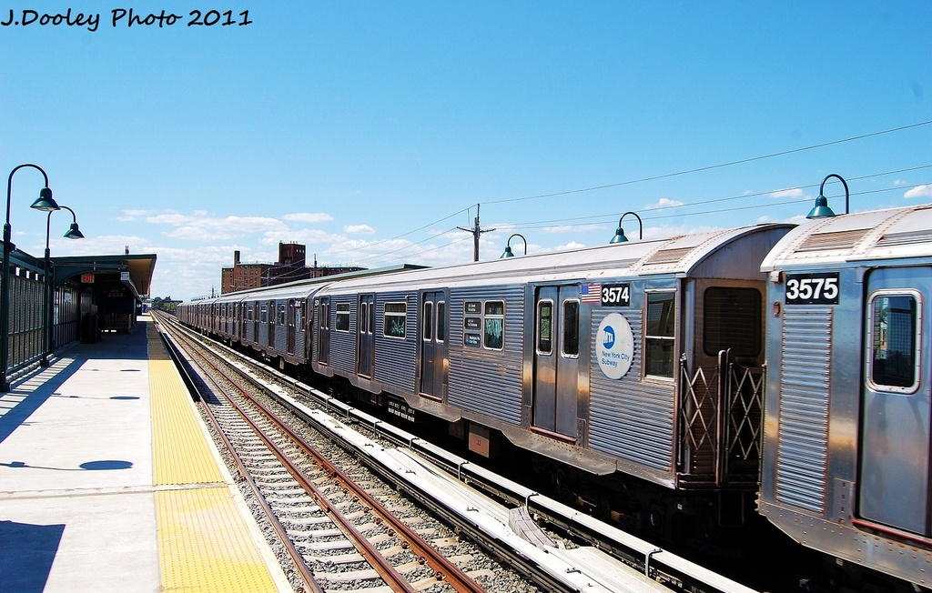 (332k, 1024x652)<br><b>Country:</b> United States<br><b>City:</b> New York<br><b>System:</b> New York City Transit<br><b>Line:</b> IND Rockaway<br><b>Location:</b> Beach 67th Street/Gaston Avenue <br><b>Route:</b> A<br><b>Car:</b> R-32 (Budd, 1964)  3574 <br><b>Photo by:</b> John Dooley<br><b>Date:</b> 8/11/2011<br><b>Viewed (this week/total):</b> 0 / 113