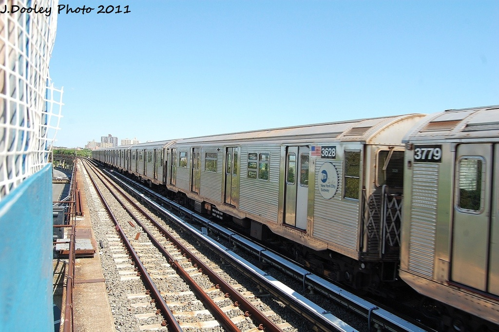(339k, 1024x681)<br><b>Country:</b> United States<br><b>City:</b> New York<br><b>System:</b> New York City Transit<br><b>Line:</b> IND Rockaway<br><b>Location:</b> Beach 44th Street/Frank Avenue <br><b>Route:</b> A<br><b>Car:</b> R-32 (Budd, 1964)  3628 <br><b>Photo by:</b> John Dooley<br><b>Date:</b> 8/11/2011<br><b>Viewed (this week/total):</b> 3 / 163