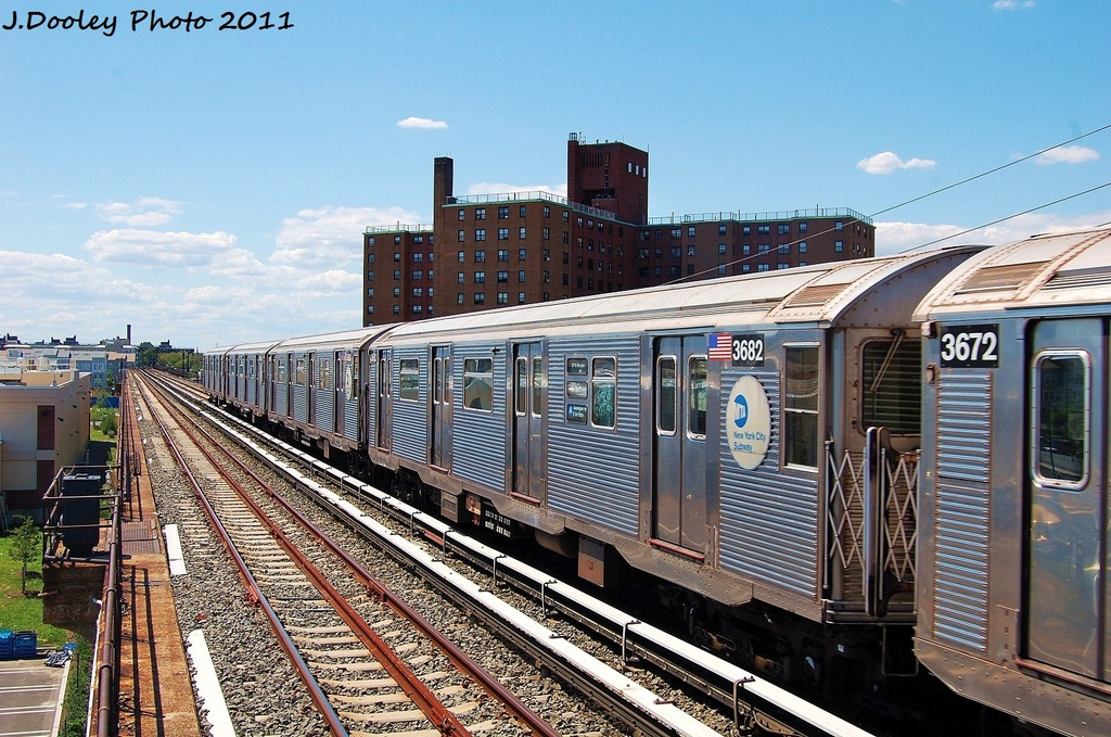 (389k, 1024x679)<br><b>Country:</b> United States<br><b>City:</b> New York<br><b>System:</b> New York City Transit<br><b>Line:</b> IND Rockaway<br><b>Location:</b> Beach 44th Street/Frank Avenue <br><b>Route:</b> A<br><b>Car:</b> R-32 (Budd, 1964)  3682 <br><b>Photo by:</b> John Dooley<br><b>Date:</b> 8/11/2011<br><b>Viewed (this week/total):</b> 1 / 194