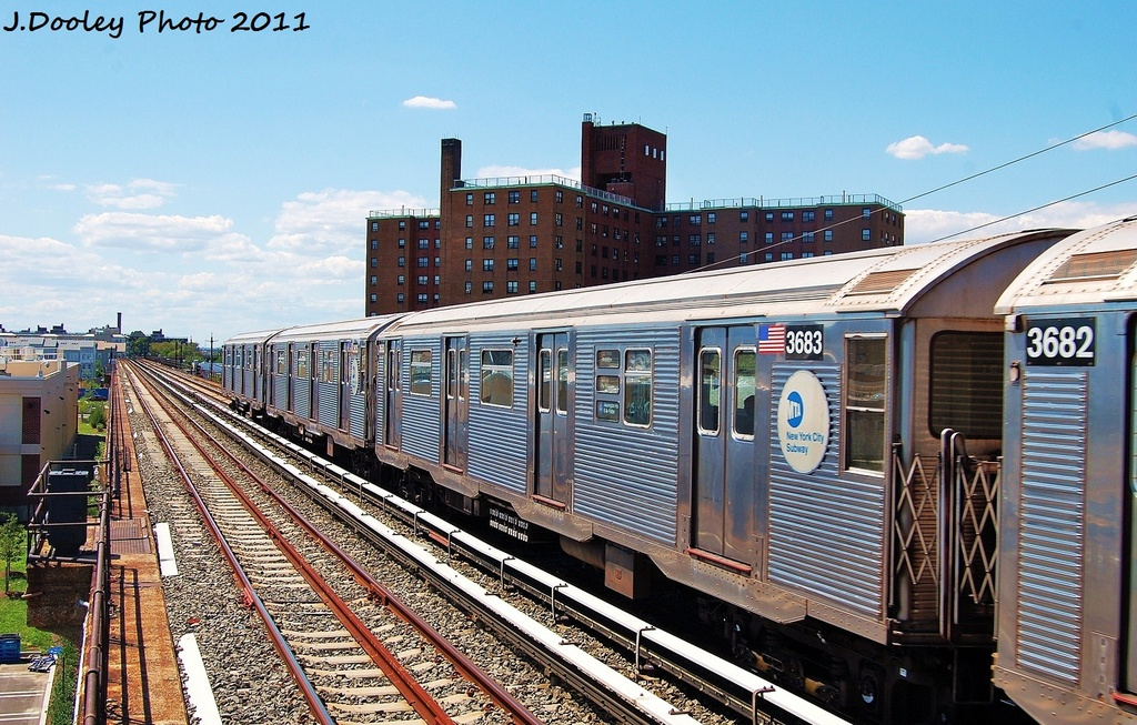 (386k, 1024x653)<br><b>Country:</b> United States<br><b>City:</b> New York<br><b>System:</b> New York City Transit<br><b>Line:</b> IND Rockaway<br><b>Location:</b> Beach 44th Street/Frank Avenue <br><b>Route:</b> A<br><b>Car:</b> R-32 (Budd, 1964)  3683 <br><b>Photo by:</b> John Dooley<br><b>Date:</b> 8/11/2011<br><b>Viewed (this week/total):</b> 1 / 92