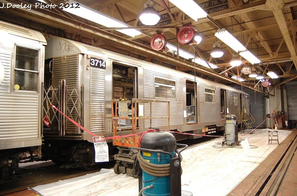 (386k, 1024x677)<br><b>Country:</b> United States<br><b>City:</b> New York<br><b>System:</b> New York City Transit<br><b>Location:</b> Coney Island Shop-Paint Shop<br><b>Car:</b> R-32 (Budd, 1964)  3714 <br><b>Photo by:</b> John Dooley<br><b>Date:</b> 1/19/2012<br><b>Viewed (this week/total):</b> 6 / 1049