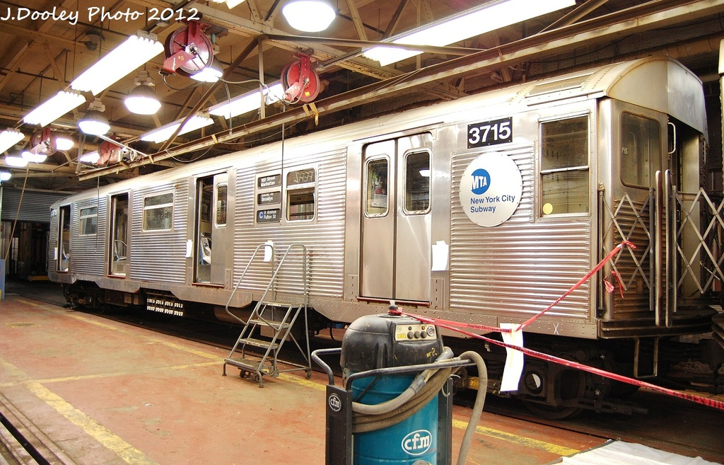(381k, 1024x657)<br><b>Country:</b> United States<br><b>City:</b> New York<br><b>System:</b> New York City Transit<br><b>Location:</b> Coney Island Shop-Paint Shop<br><b>Car:</b> R-32 (Budd, 1964)  3715 <br><b>Photo by:</b> John Dooley<br><b>Date:</b> 1/19/2012<br><b>Viewed (this week/total):</b> 1 / 595