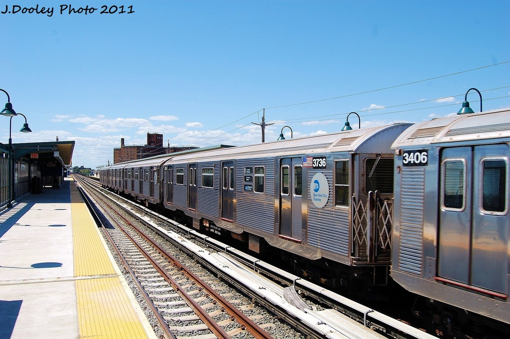 (354k, 1024x681)<br><b>Country:</b> United States<br><b>City:</b> New York<br><b>System:</b> New York City Transit<br><b>Line:</b> IND Rockaway<br><b>Location:</b> Beach 67th Street/Gaston Avenue <br><b>Route:</b> A<br><b>Car:</b> R-32 (Budd, 1964)  3736 <br><b>Photo by:</b> John Dooley<br><b>Date:</b> 8/11/2011<br><b>Viewed (this week/total):</b> 0 / 147
