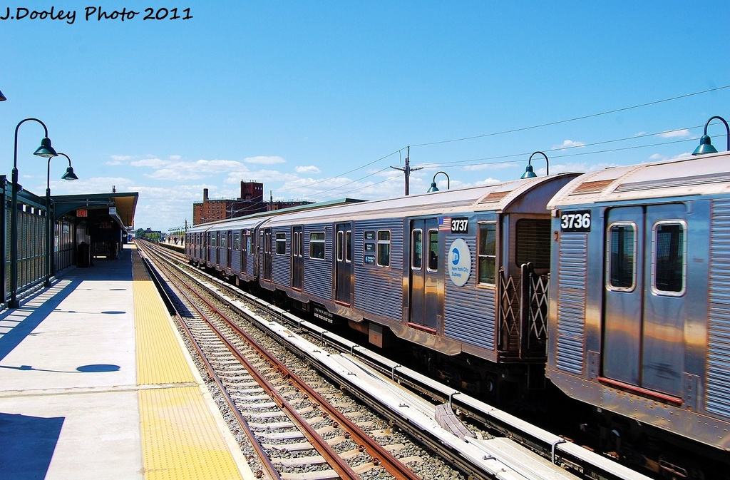 (358k, 1024x673)<br><b>Country:</b> United States<br><b>City:</b> New York<br><b>System:</b> New York City Transit<br><b>Line:</b> IND Rockaway<br><b>Location:</b> Beach 67th Street/Gaston Avenue <br><b>Route:</b> A<br><b>Car:</b> R-32 (Budd, 1964)  3737 <br><b>Photo by:</b> John Dooley<br><b>Date:</b> 8/11/2011<br><b>Viewed (this week/total):</b> 4 / 115