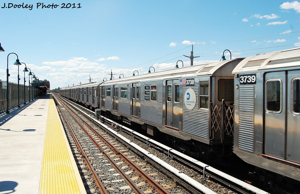 (358k, 1024x662)<br><b>Country:</b> United States<br><b>City:</b> New York<br><b>System:</b> New York City Transit<br><b>Line:</b> IND Rockaway<br><b>Location:</b> Beach 44th Street/Frank Avenue <br><b>Route:</b> A<br><b>Car:</b> R-32 (Budd, 1964)  3738 <br><b>Photo by:</b> John Dooley<br><b>Date:</b> 8/11/2011<br><b>Viewed (this week/total):</b> 3 / 463