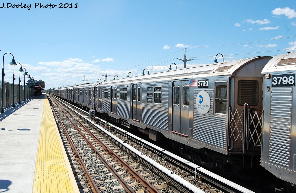 (356k, 1024x667)<br><b>Country:</b> United States<br><b>City:</b> New York<br><b>System:</b> New York City Transit<br><b>Line:</b> IND Rockaway<br><b>Location:</b> Beach 44th Street/Frank Avenue <br><b>Route:</b> A<br><b>Car:</b> R-32 (Budd, 1964)  3799 <br><b>Photo by:</b> John Dooley<br><b>Date:</b> 8/11/2011<br><b>Viewed (this week/total):</b> 1 / 85