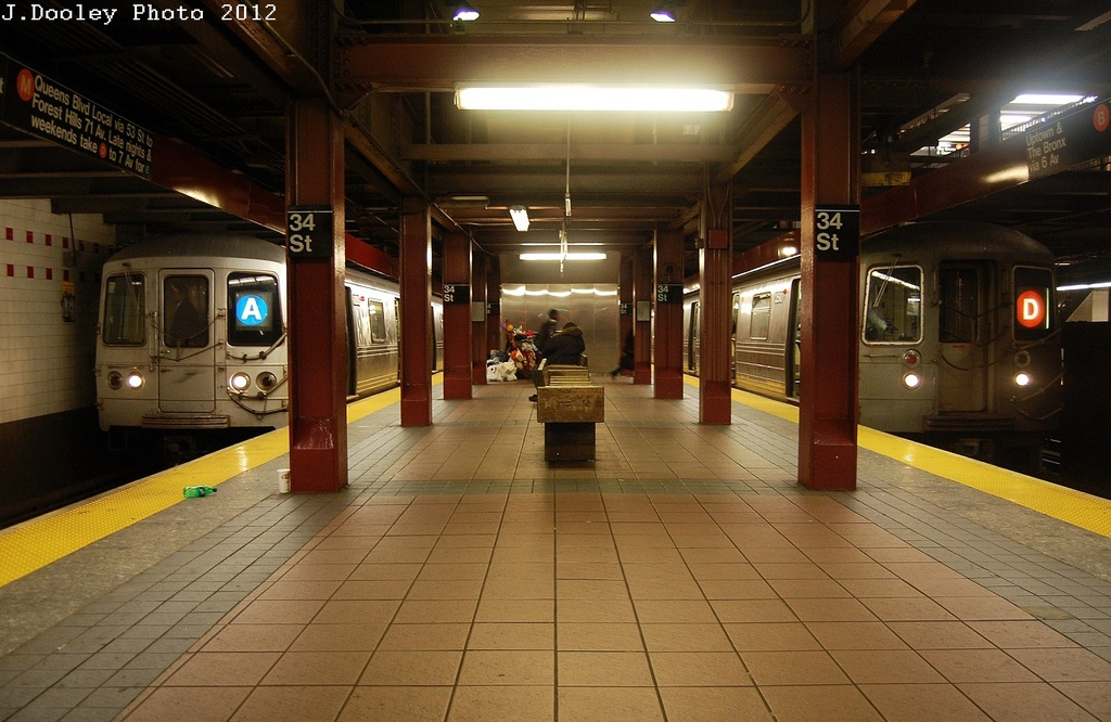 (317k, 1024x666)<br><b>Country:</b> United States<br><b>City:</b> New York<br><b>System:</b> New York City Transit<br><b>Line:</b> IND 6th Avenue Line<br><b>Location:</b> 34th Street/Herald Square <br><b>Route:</b> A reroute<br><b>Car:</b> R-46 (Pullman-Standard, 1974-75)  <br><b>Photo by:</b> John Dooley<br><b>Date:</b> 3/13/2012<br><b>Viewed (this week/total):</b> 3 / 785