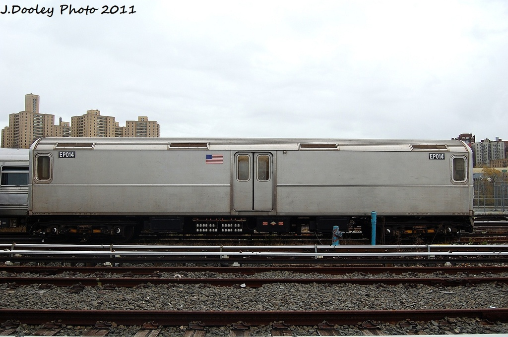 (295k, 1024x680)<br><b>Country:</b> United States<br><b>City:</b> New York<br><b>System:</b> New York City Transit<br><b>Location:</b> 207th Street Yard<br><b>Car:</b> R-127/R-134 (Kawasaki, 1991-1996) EP014 <br><b>Photo by:</b> John Dooley<br><b>Date:</b> 11/29/2011<br><b>Viewed (this week/total):</b> 0 / 594