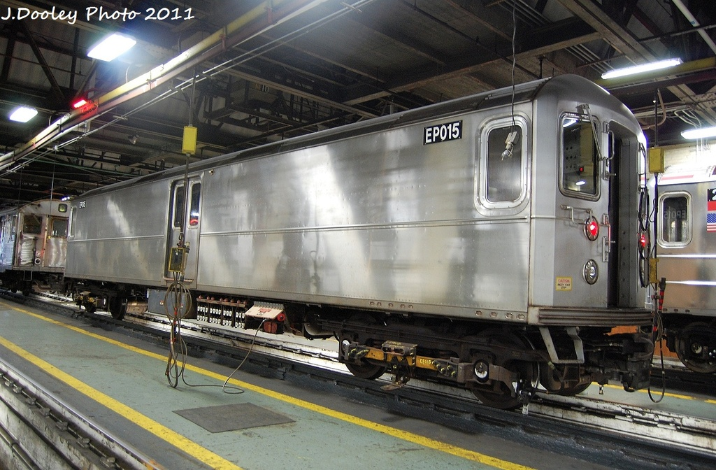 (355k, 1024x672)<br><b>Country:</b> United States<br><b>City:</b> New York<br><b>System:</b> New York City Transit<br><b>Location:</b> 207th Street Shop<br><b>Car:</b> R-127/R-134 (Kawasaki, 1991-1996) EP015 <br><b>Photo by:</b> John Dooley<br><b>Date:</b> 11/29/2011<br><b>Viewed (this week/total):</b> 1 / 375