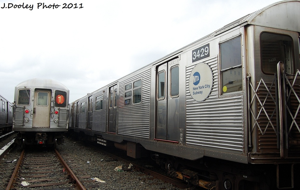 (298k, 1024x650)<br><b>Country:</b> United States<br><b>City:</b> New York<br><b>System:</b> New York City Transit<br><b>Location:</b> 207th Street Yard<br><b>Car:</b> R-32 (Budd, 1964)  3429 <br><b>Photo by:</b> John Dooley<br><b>Date:</b> 11/29/2011<br><b>Viewed (this week/total):</b> 1 / 188
