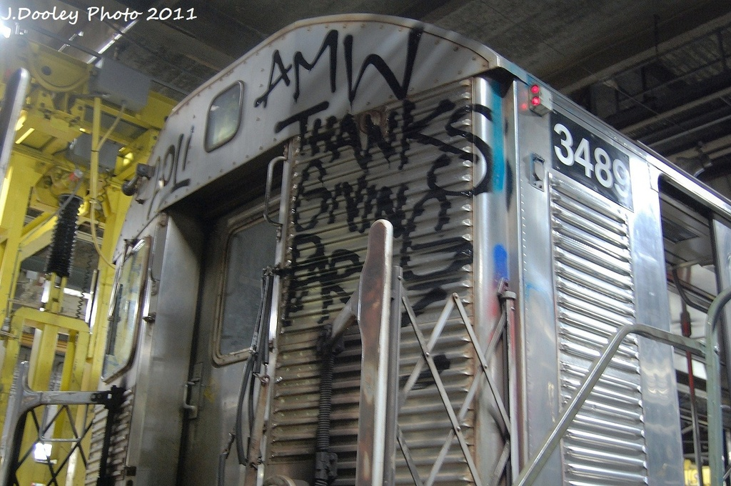 (352k, 1024x680)<br><b>Country:</b> United States<br><b>City:</b> New York<br><b>System:</b> New York City Transit<br><b>Location:</b> 207th Street Yard<br><b>Car:</b> R-32 (Budd, 1964)  3489 <br><b>Photo by:</b> John Dooley<br><b>Date:</b> 11/29/2011<br><b>Viewed (this week/total):</b> 22 / 1005