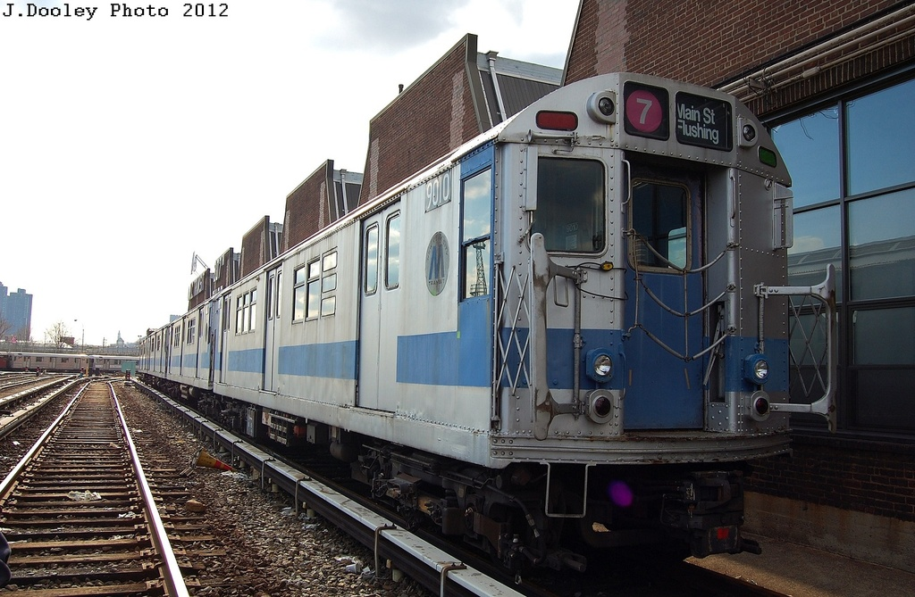 (322k, 1024x669)<br><b>Country:</b> United States<br><b>City:</b> New York<br><b>System:</b> New York City Transit<br><b>Location:</b> 207th Street Yard<br><b>Car:</b> R-33 Main Line (St. Louis, 1962-63) 9010 <br><b>Photo by:</b> John Dooley<br><b>Date:</b> 2/1/2012<br><b>Viewed (this week/total):</b> 2 / 428