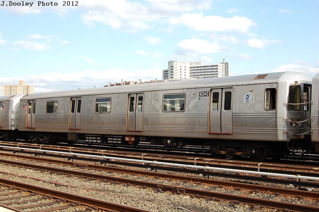 (343k, 1024x680)<br><b>Country:</b> United States<br><b>City:</b> New York<br><b>System:</b> New York City Transit<br><b>Location:</b> 207th Street Yard<br><b>Car:</b> R-46 (Pullman-Standard, 1974-75) 6242 <br><b>Photo by:</b> John Dooley<br><b>Date:</b> 2/1/2012<br><b>Viewed (this week/total):</b> 0 / 169