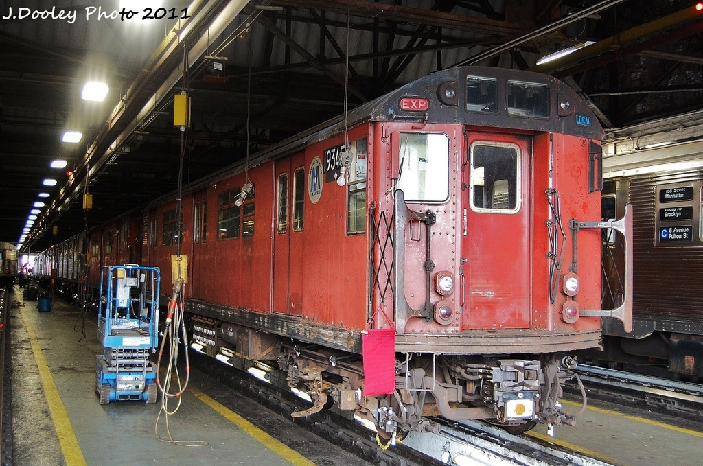 (395k, 1024x679)<br><b>Country:</b> United States<br><b>City:</b> New York<br><b>System:</b> New York City Transit<br><b>Location:</b> 207th Street Shop<br><b>Car:</b> R-33 World's Fair (St. Louis, 1963-64) 9345 <br><b>Photo by:</b> John Dooley<br><b>Date:</b> 11/29/2011<br><b>Viewed (this week/total):</b> 4 / 269