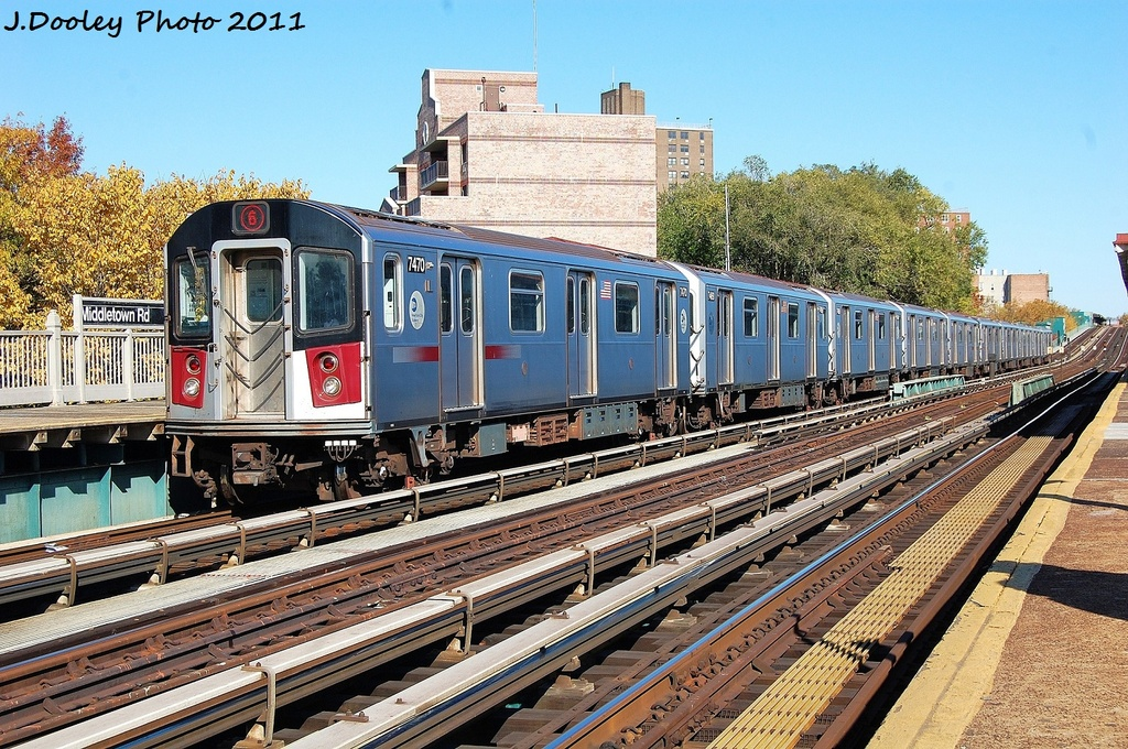 (444k, 1024x680)<br><b>Country:</b> United States<br><b>City:</b> New York<br><b>System:</b> New York City Transit<br><b>Line:</b> IRT Pelham Line<br><b>Location:</b> Middletown Road <br><b>Route:</b> 6<br><b>Car:</b> R-142A (Primary Order, Kawasaki, 1999-2002)  7470 <br><b>Photo by:</b> John Dooley<br><b>Date:</b> 11/5/2011<br><b>Viewed (this week/total):</b> 0 / 177