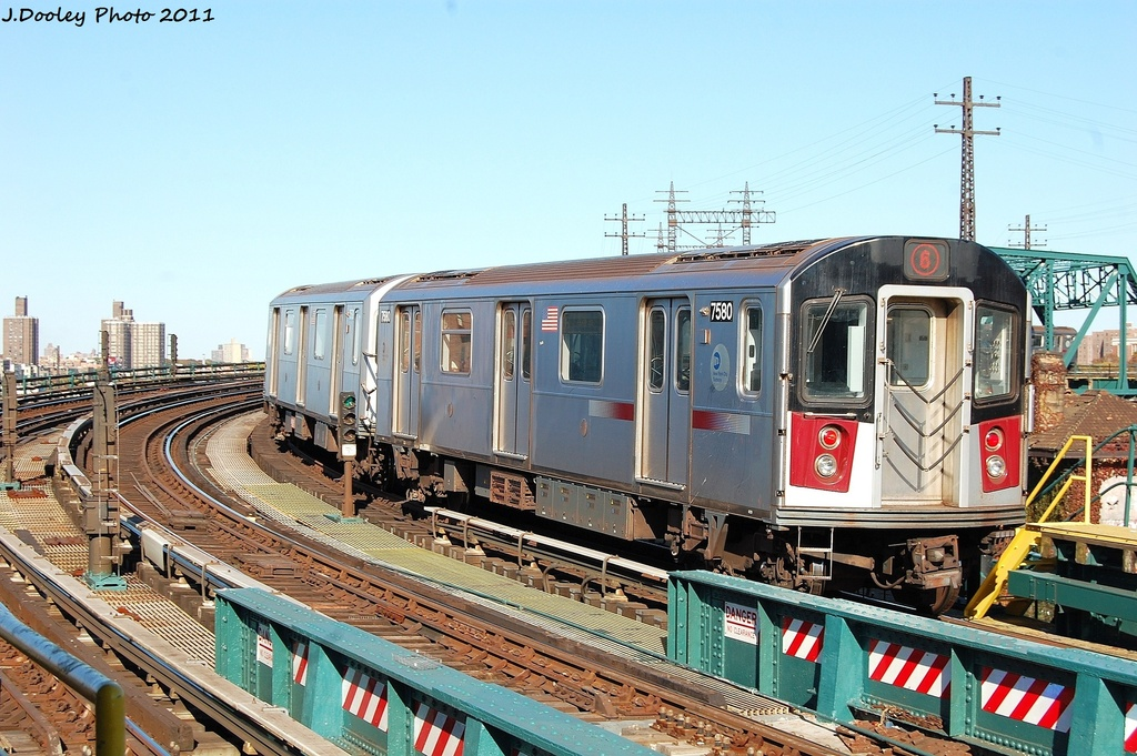 (368k, 1024x681)<br><b>Country:</b> United States<br><b>City:</b> New York<br><b>System:</b> New York City Transit<br><b>Line:</b> IRT Pelham Line<br><b>Location:</b> Whitlock Avenue <br><b>Route:</b> 6<br><b>Car:</b> R-142A (Primary Order, Kawasaki, 1999-2002)  7580 <br><b>Photo by:</b> John Dooley<br><b>Date:</b> 11/5/2011<br><b>Viewed (this week/total):</b> 0 / 414