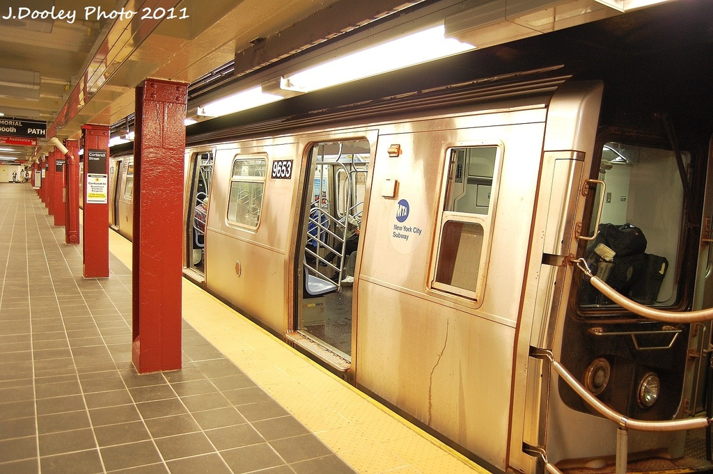 (361k, 1024x681)<br><b>Country:</b> United States<br><b>City:</b> New York<br><b>System:</b> New York City Transit<br><b>Line:</b> BMT Broadway Line<br><b>Location:</b> Cortlandt Street-World Trade Center <br><b>Route:</b> R<br><b>Car:</b> R-160A-1 (Alstom, 2005-2008, 4 car sets)  9653 <br><b>Photo by:</b> John Dooley<br><b>Date:</b> 9/6/2011<br><b>Viewed (this week/total):</b> 3 / 758