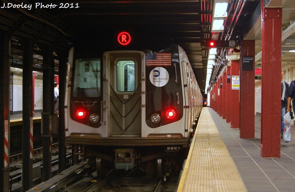 (338k, 1024x667)<br><b>Country:</b> United States<br><b>City:</b> New York<br><b>System:</b> New York City Transit<br><b>Line:</b> BMT Broadway Line<br><b>Location:</b> Cortlandt Street-World Trade Center <br><b>Route:</b> R<br><b>Car:</b> R-160A-1 (Alstom, 2005-2008, 4 car sets)  9743 <br><b>Photo by:</b> John Dooley<br><b>Date:</b> 9/6/2011<br><b>Viewed (this week/total):</b> 1 / 993