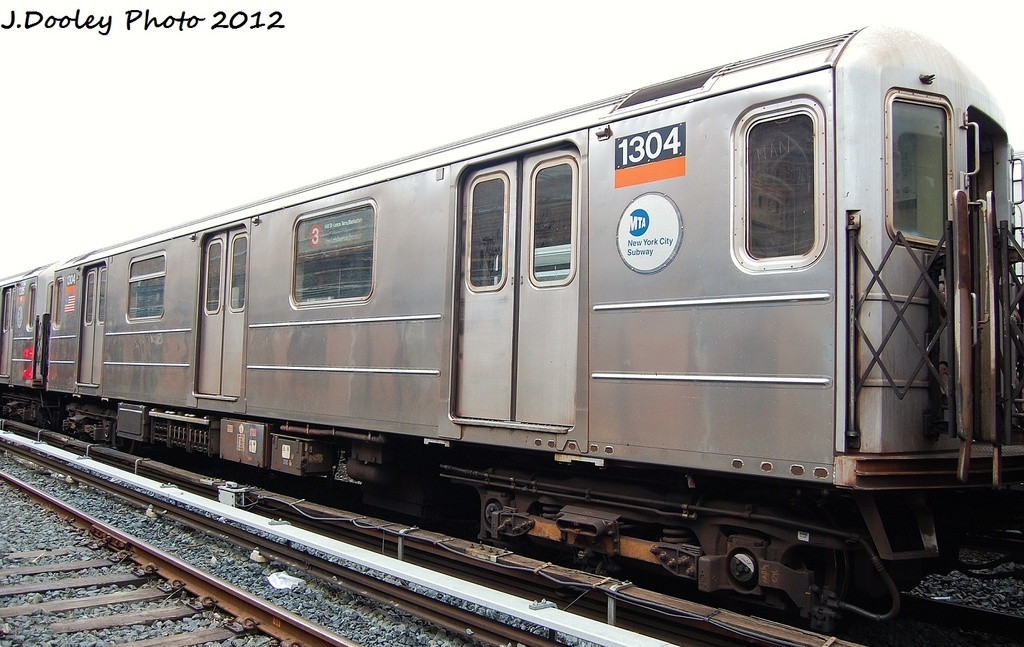 (302k, 1024x647)<br><b>Country:</b> United States<br><b>City:</b> New York<br><b>System:</b> New York City Transit<br><b>Location:</b> Livonia Yard<br><b>Car:</b> R-62 (Kawasaki, 1983-1985)  1304 <br><b>Photo by:</b> John Dooley<br><b>Date:</b> 1/26/2012<br><b>Viewed (this week/total):</b> 2 / 774