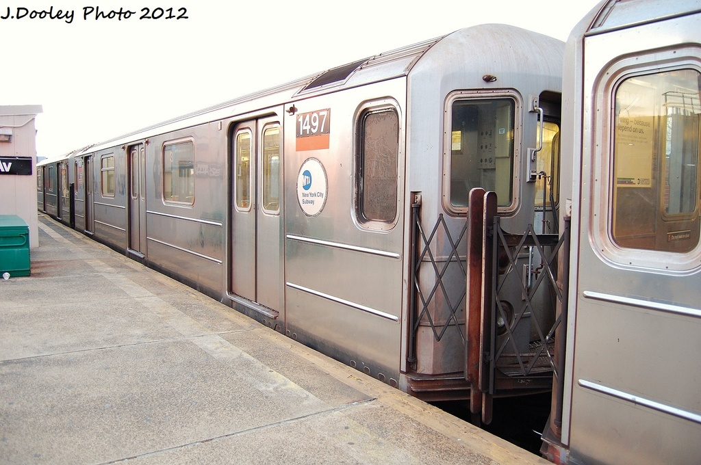 (311k, 1024x680)<br><b>Country:</b> United States<br><b>City:</b> New York<br><b>System:</b> New York City Transit<br><b>Line:</b> IRT Brooklyn Line<br><b>Location:</b> New Lots Avenue <br><b>Route:</b> 3<br><b>Car:</b> R-62 (Kawasaki, 1983-1985)  1497 <br><b>Photo by:</b> John Dooley<br><b>Date:</b> 1/14/2012<br><b>Viewed (this week/total):</b> 1 / 401
