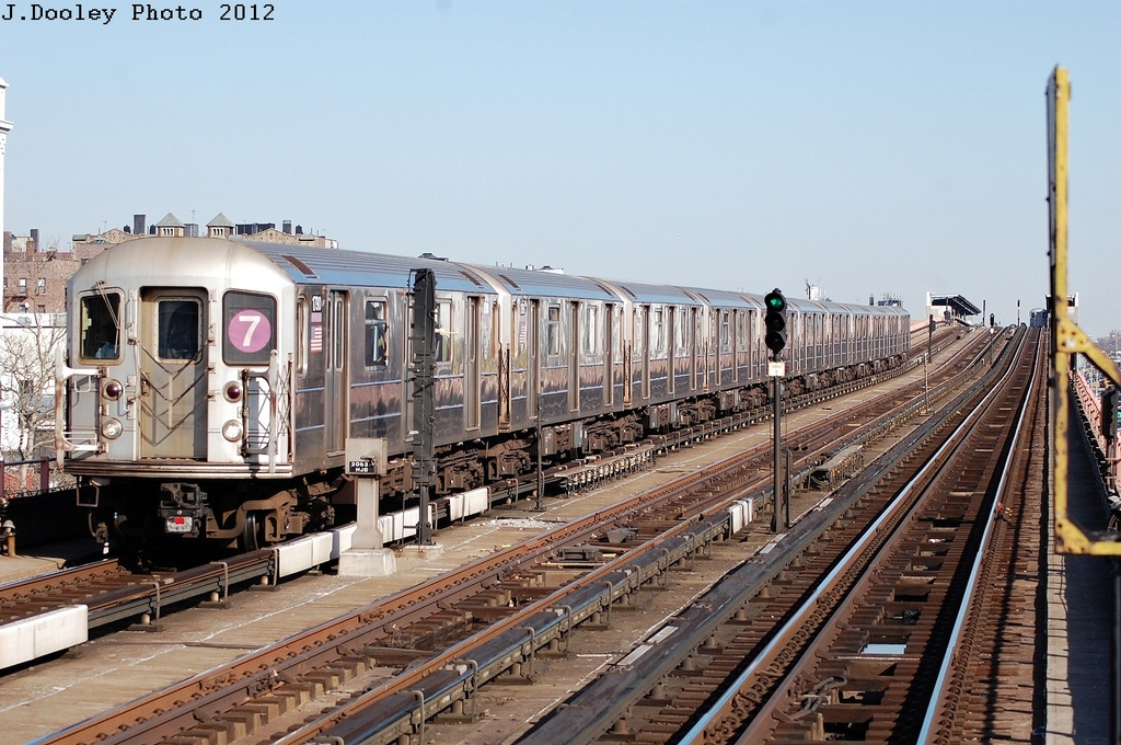 (351k, 1024x680)<br><b>Country:</b> United States<br><b>City:</b> New York<br><b>System:</b> New York City Transit<br><b>Line:</b> IRT Flushing Line<br><b>Location:</b> 33rd Street/Rawson Street <br><b>Route:</b> 7<br><b>Car:</b> R-62A (Bombardier, 1984-1987)  1790 <br><b>Photo by:</b> John Dooley<br><b>Date:</b> 3/6/2012<br><b>Viewed (this week/total):</b> 1 / 511
