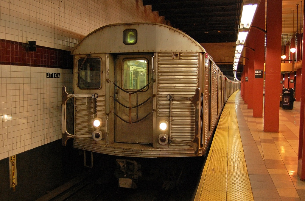 (346k, 1024x676)<br><b>Country:</b> United States<br><b>City:</b> New York<br><b>System:</b> New York City Transit<br><b>Line:</b> IND Fulton Street Line<br><b>Location:</b> Utica Avenue <br><b>Route:</b> C<br><b>Car:</b> R-32 (Budd, 1964)  3445 <br><b>Photo by:</b> John Dooley<br><b>Date:</b> 1/3/2012<br><b>Viewed (this week/total):</b> 0 / 687