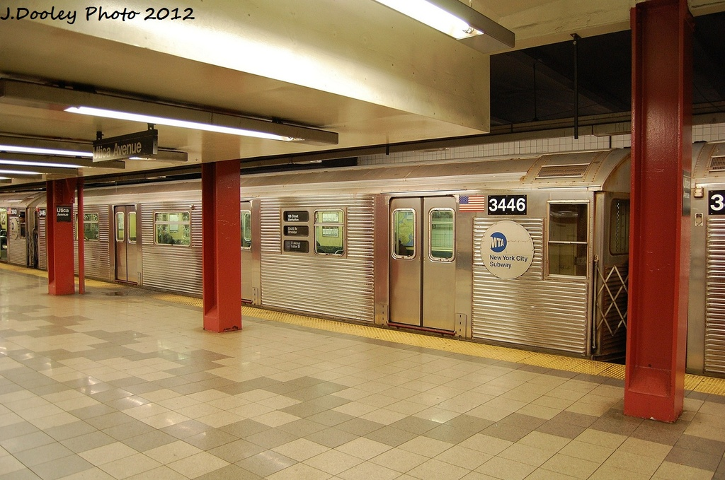 (329k, 1024x679)<br><b>Country:</b> United States<br><b>City:</b> New York<br><b>System:</b> New York City Transit<br><b>Line:</b> IND Fulton Street Line<br><b>Location:</b> Utica Avenue <br><b>Route:</b> C<br><b>Car:</b> R-32 (Budd, 1964)  3446 <br><b>Photo by:</b> John Dooley<br><b>Date:</b> 1/3/2012<br><b>Viewed (this week/total):</b> 1 / 267