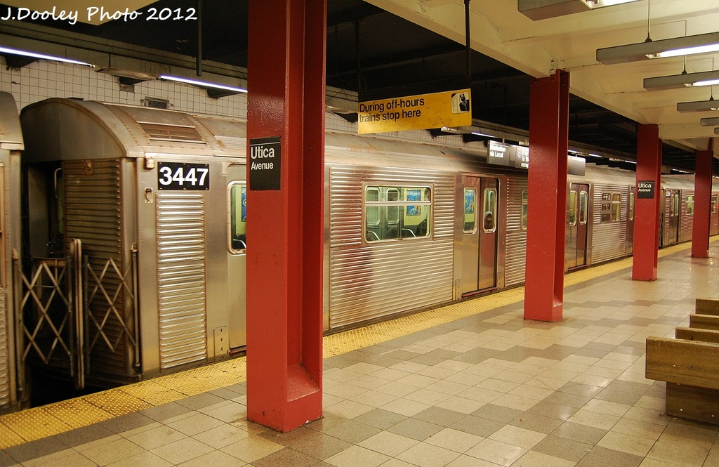 (342k, 1024x665)<br><b>Country:</b> United States<br><b>City:</b> New York<br><b>System:</b> New York City Transit<br><b>Line:</b> IND Fulton Street Line<br><b>Location:</b> Utica Avenue <br><b>Route:</b> C<br><b>Car:</b> R-32 (Budd, 1964)  3447 <br><b>Photo by:</b> John Dooley<br><b>Date:</b> 1/3/2012<br><b>Viewed (this week/total):</b> 0 / 482