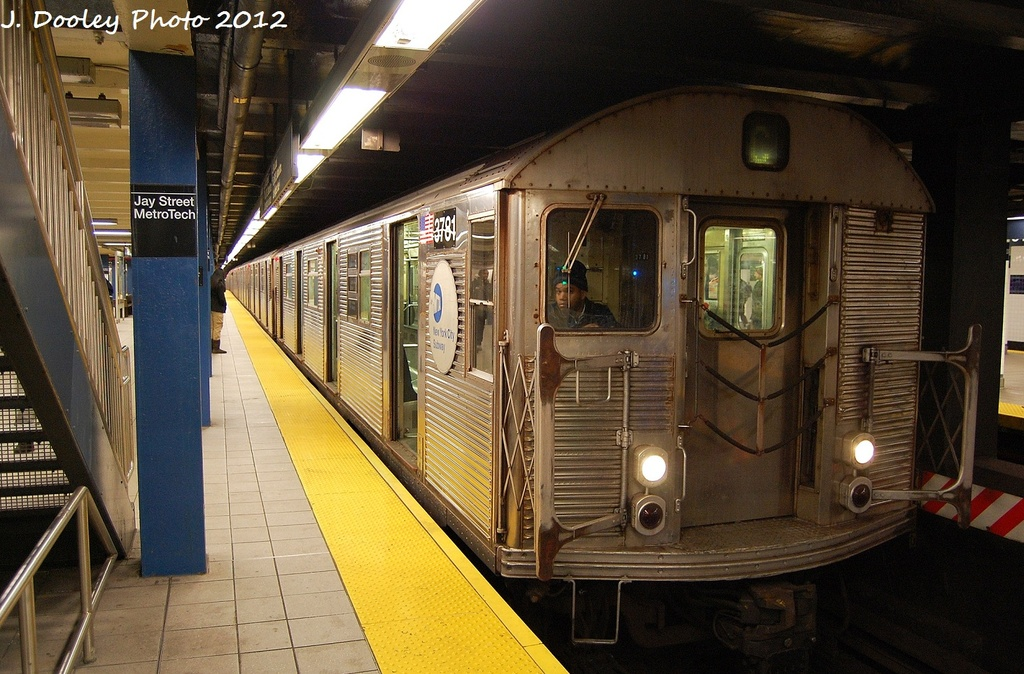 (355k, 1024x674)<br><b>Country:</b> United States<br><b>City:</b> New York<br><b>System:</b> New York City Transit<br><b>Line:</b> IND 8th Avenue Line<br><b>Location:</b> Jay St./Metrotech (Borough Hall) <br><b>Route:</b> C<br><b>Car:</b> R-32 (Budd, 1964)  3781 <br><b>Photo by:</b> John Dooley<br><b>Date:</b> 1/3/2012<br><b>Viewed (this week/total):</b> 1 / 786