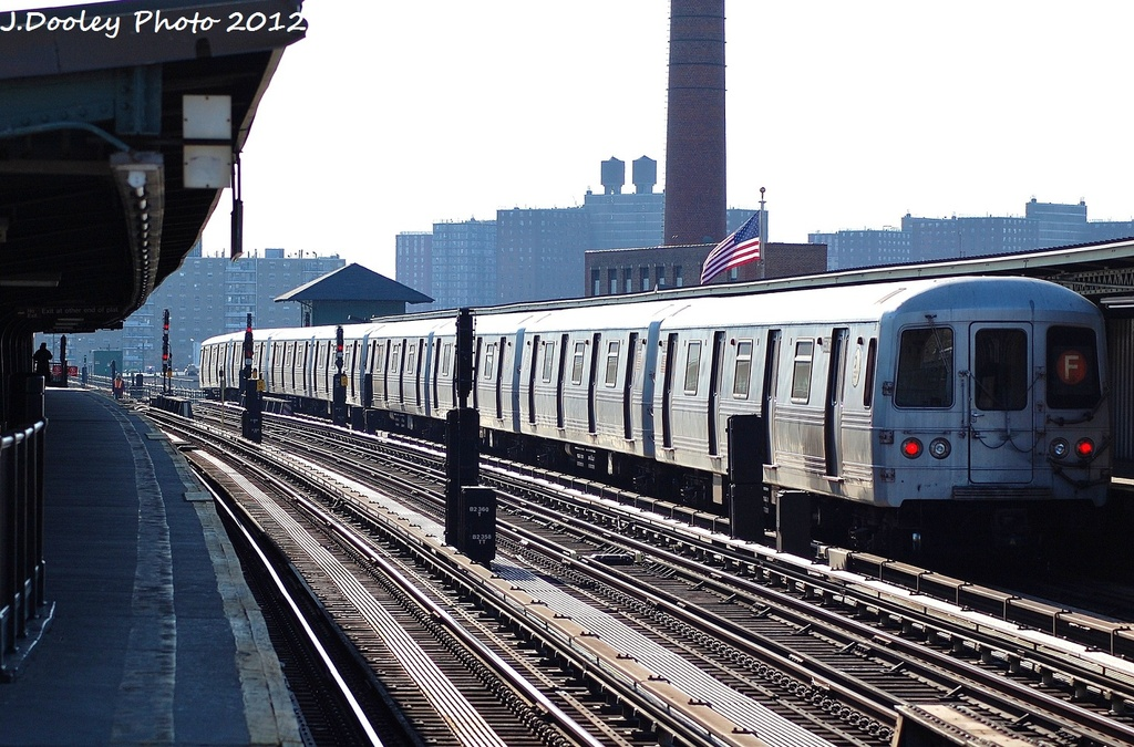 (353k, 1024x675)<br><b>Country:</b> United States<br><b>City:</b> New York<br><b>System:</b> New York City Transit<br><b>Line:</b> BMT Culver Line<br><b>Location:</b> Avenue X <br><b>Route:</b> F<br><b>Car:</b> R-46 (Pullman-Standard, 1974-75) 5506 <br><b>Photo by:</b> John Dooley<br><b>Date:</b> 1/7/2012<br><b>Viewed (this week/total):</b> 1 / 189