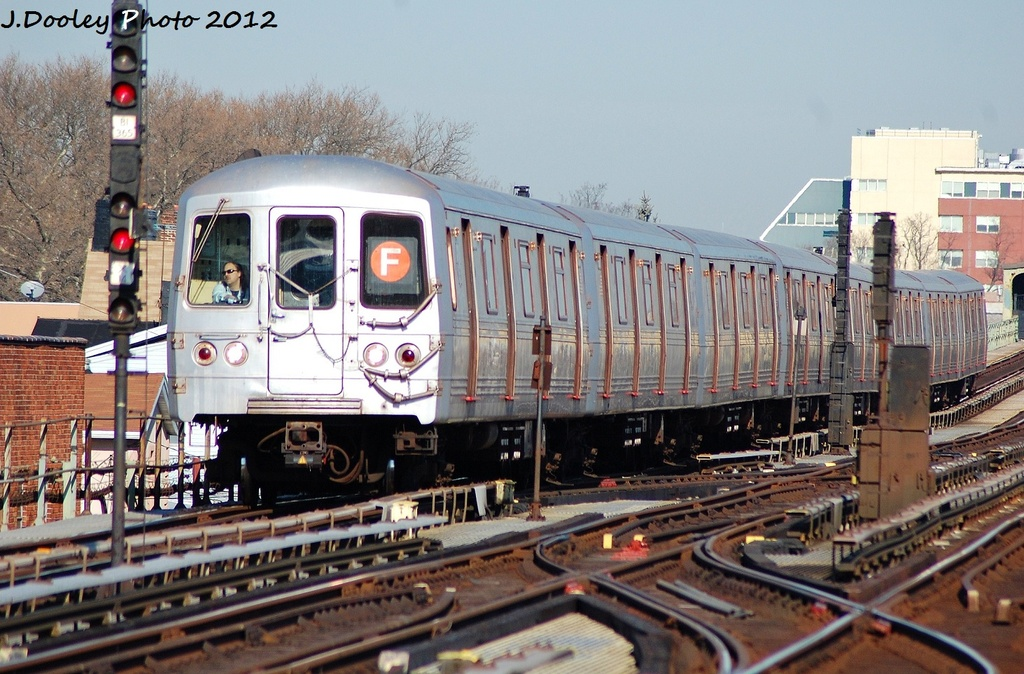(356k, 1024x674)<br><b>Country:</b> United States<br><b>City:</b> New York<br><b>System:</b> New York City Transit<br><b>Line:</b> BMT Culver Line<br><b>Location:</b> Avenue X <br><b>Route:</b> F<br><b>Car:</b> R-46 (Pullman-Standard, 1974-75) 5614 <br><b>Photo by:</b> John Dooley<br><b>Date:</b> 1/7/2012<br><b>Viewed (this week/total):</b> 1 / 675