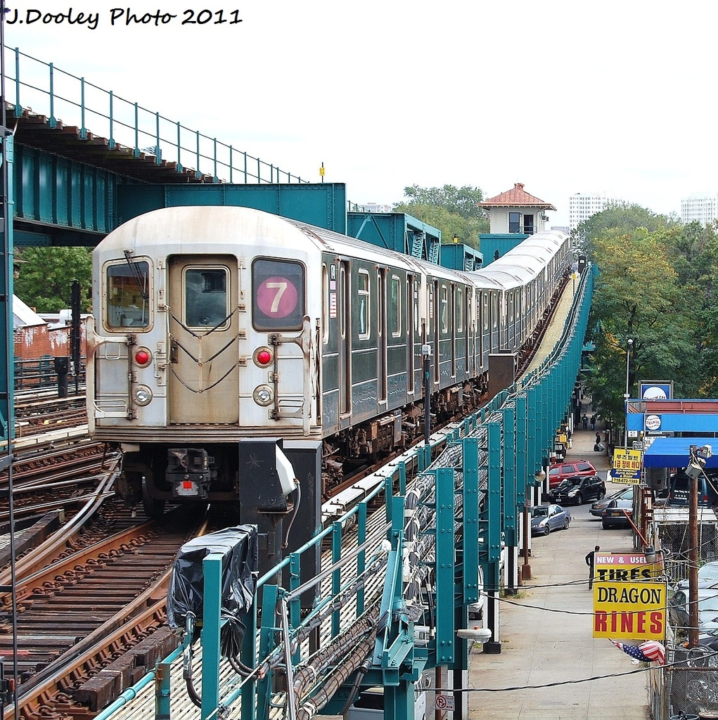 (582k, 1021x1024)<br><b>Country:</b> United States<br><b>City:</b> New York<br><b>System:</b> New York City Transit<br><b>Line:</b> IRT Flushing Line<br><b>Location:</b> 111th Street <br><b>Route:</b> 7<br><b>Car:</b> R-62A (Bombardier, 1984-1987)  1741 <br><b>Photo by:</b> John Dooley<br><b>Date:</b> 10/12/2011<br><b>Viewed (this week/total):</b> 2 / 260