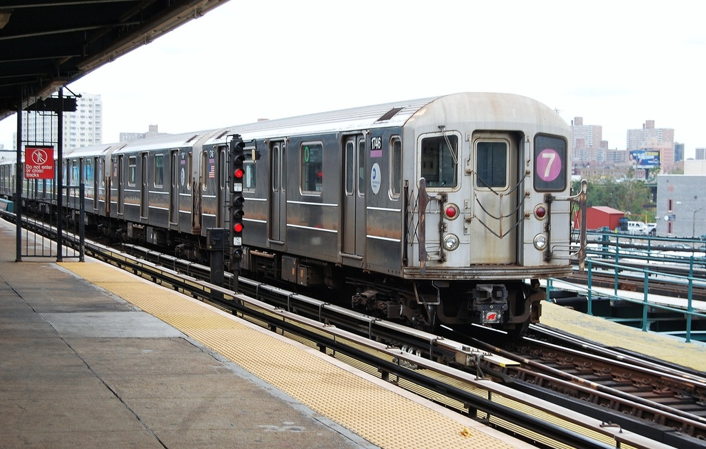 (312k, 1024x651)<br><b>Country:</b> United States<br><b>City:</b> New York<br><b>System:</b> New York City Transit<br><b>Line:</b> IRT Flushing Line<br><b>Location:</b> Willets Point/Mets (fmr. Shea Stadium) <br><b>Route:</b> 7<br><b>Car:</b> R-62A (Bombardier, 1984-1987)  1746 <br><b>Photo by:</b> John Dooley<br><b>Date:</b> 10/12/2011<br><b>Viewed (this week/total):</b> 3 / 200