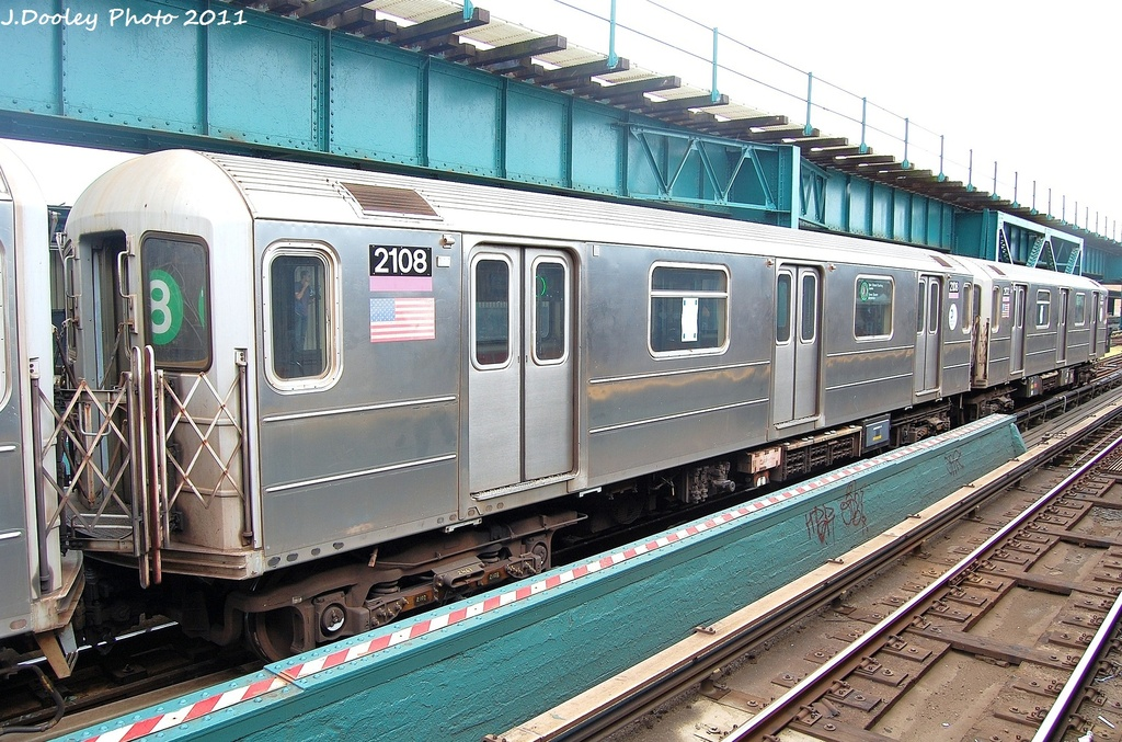 (389k, 1024x677)<br><b>Country:</b> United States<br><b>City:</b> New York<br><b>System:</b> New York City Transit<br><b>Line:</b> IRT Flushing Line<br><b>Location:</b> 111th Street <br><b>Route:</b> 7<br><b>Car:</b> R-62A (Bombardier, 1984-1987)  2108 <br><b>Photo by:</b> John Dooley<br><b>Date:</b> 10/12/2011<br><b>Viewed (this week/total):</b> 2 / 1073