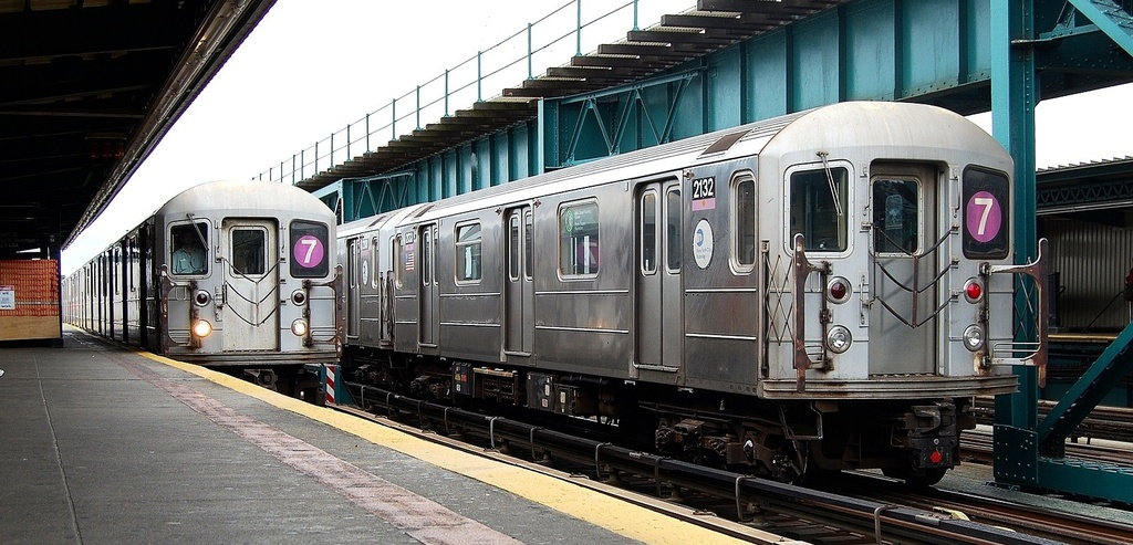 (288k, 1024x493)<br><b>Country:</b> United States<br><b>City:</b> New York<br><b>System:</b> New York City Transit<br><b>Line:</b> IRT Flushing Line<br><b>Location:</b> 111th Street <br><b>Route:</b> 7<br><b>Car:</b> R-62A (Bombardier, 1984-1987)  2132 <br><b>Photo by:</b> John Dooley<br><b>Date:</b> 10/12/2011<br><b>Viewed (this week/total):</b> 0 / 703