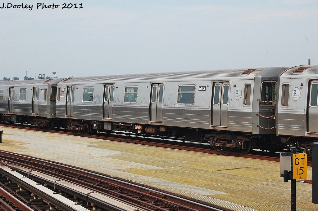(321k, 1024x681)<br><b>Country:</b> United States<br><b>City:</b> New York<br><b>System:</b> New York City Transit<br><b>Location:</b> Coney Island/Stillwell Avenue<br><b>Route:</b> N<br><b>Car:</b> R-68A (Kawasaki, 1988-1989)  5163 <br><b>Photo by:</b> John Dooley<br><b>Date:</b> 7/23/2011<br><b>Viewed (this week/total):</b> 6 / 132