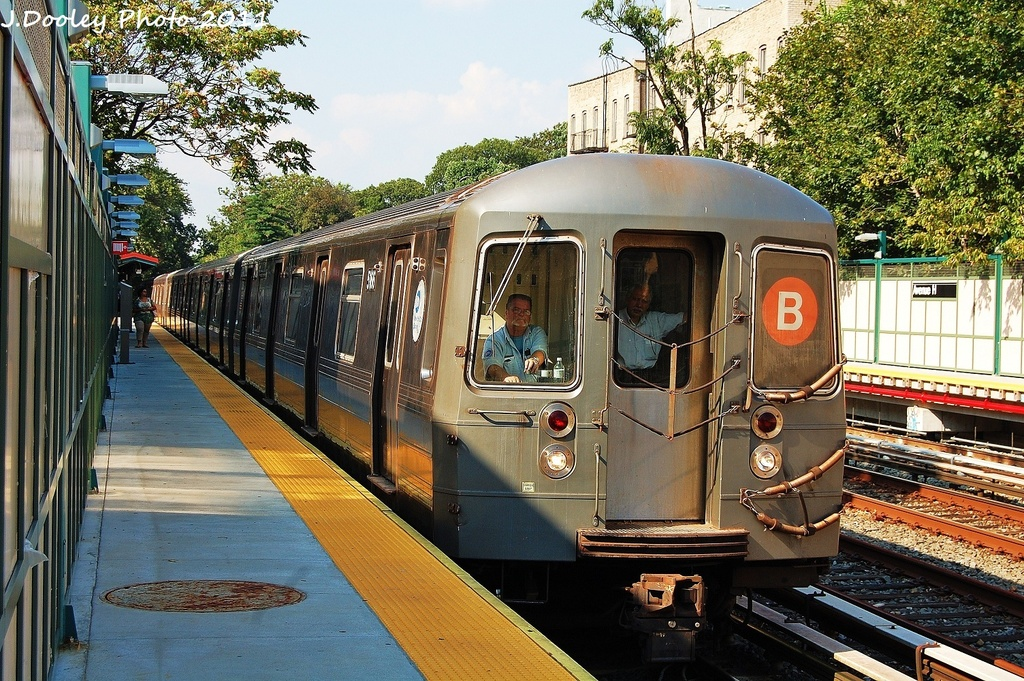 (445k, 1024x681)<br><b>Country:</b> United States<br><b>City:</b> New York<br><b>System:</b> New York City Transit<br><b>Line:</b> BMT Brighton Line<br><b>Location:</b> Avenue H <br><b>Route:</b> B<br><b>Car:</b> R-68A (Kawasaki, 1988-1989)  5166 <br><b>Photo by:</b> John Dooley<br><b>Date:</b> 9/12/2011<br><b>Viewed (this week/total):</b> 0 / 232